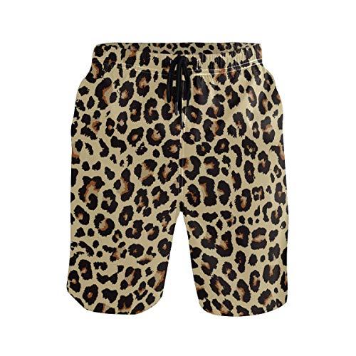 Mens Swim Trunks Cheetah Leopard Print Animal Skin Beach Board Shorts Quick Dry Swim Shorts with Pockets