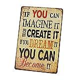 Ogquaton 1 x Metall Blechschild Werbeschild Vintage Dream Be Eisen Malerei Plakette Poster dekorative Blechdose für Zuhause Zimmer Cafe Bar Pub kreativ und nützlich