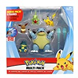 PoKéMoN Battle Multi Pack mit 5 Figuren - Turtok, Mampfaxo, Larvitar, Evoli & Pikachu - Neue Welle 2020 - Offizielle Authentische Details