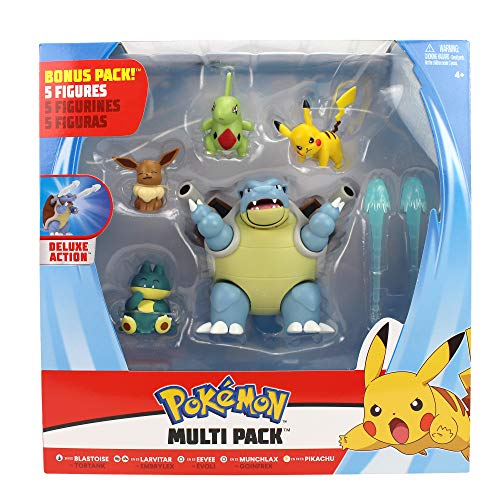 Pokemon Battle Figura Multi 5 Pack - Blastoise, Munchlax, Larvitar, Eevee & Pikachu - Nueva Ola 2020 - Detalles Auténticos
