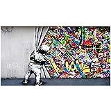 Peinture sur Toile Tableau Street Art Banksy Graffiti Art Mural DerrièRe Le Rideau Affiche Et sur Toile Tableau Murale Art Tableaux pour La Decoration IntéRieure Salon sans Cadre