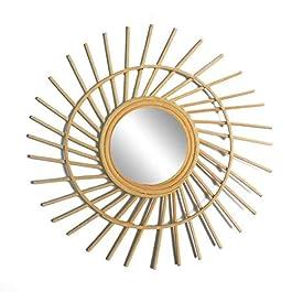 circulor Miroir en Rotin Soleil, Round Vintage Mur Décoratif Miroir – Bois Naturel Miroir Rond Vintage Décoratif – Décor…