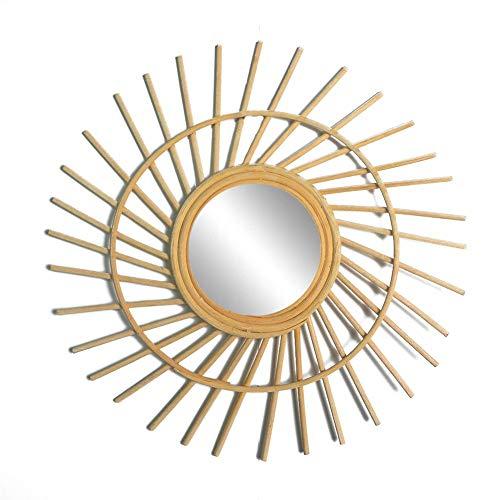 Espejo de Mimbre de bambú francés Espejo de tocador de Sol Bohemio Espejo de Pared Medieval Espejo de bambú y Vid Espejo de Sol Medieval decoración del hogar Conjunto de Espejos