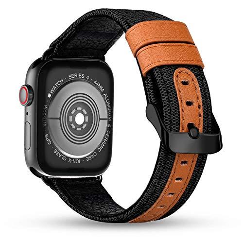 iBazal horlogeband vervanging voor iWatch Series 5 4 3 2 1 armband 40mm 38mm stof linnen textiel geweven/leer vervangende horlogeband band armbanden herenhorloge dames horlogebanden - zwart 38/40