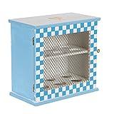 BE LEAF'S El gabinete de madera del huevo, azul, sostiene 12 huevos, 2 estantes con 6...