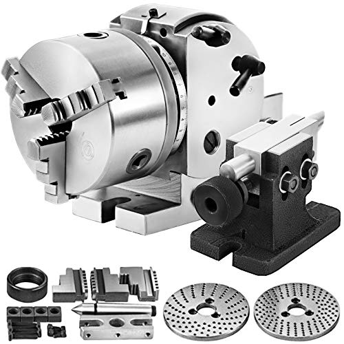 "Mophorn BS-0 Dividing Head 5 Inch, Precision Dividing Head Set with 5"" 3-jaw Chuck & Tailstock Dividing Plates for Milling Machine"