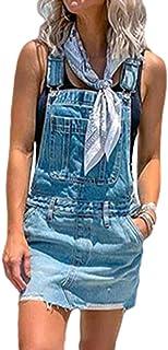 Vestito Salopette de Denim Donna Senza Maniche Abito di Jeans Estiva Casual Gonna Corta Moda Buco Strappato Vestito Scamic...