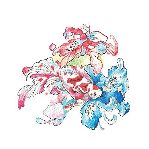 3 feuilles de poisson rouge et de fleurs peintes autocollants de tatouage temporaires pour la partie de Costume Cosplay couvrant les cicatrices