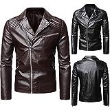 Cazadora Moto Hombre Mens Leather Jacket Elegante Retro Abrigo Hombre Piel Ropa Vintage Hombre Estilo Rockero,Punk O Motero Chaquetas Hombre Otoño Abrigo de Manga Larga S~5xl