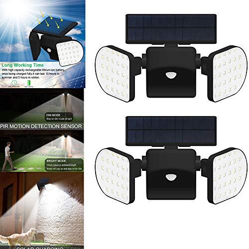 2pcs Solarleuchten Garten mit Bewegungsmelder Super Hell 56 LED Solar Wandleuchte Aussen LED Wasserdicht IP65 360° Drehbar Dual Lichtkopf und Solar Panel Sicherheitslicht für Außen Garten Wand