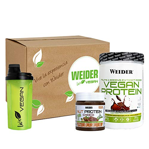 Weider-Caja vegan: 1 vegan protein de chocolate de 750g + 1 nut protein crunchy + shaker de regalo