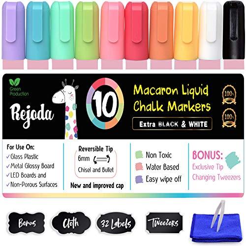 Arts Pennarelli Gesso Liquido Cancellabili 10 Pacco Con 32 Etichette Adesive e 1 Pinzetta e 1 Panno per la Pulizia - Chalk Markers Per Lavagna e Vetro - Kid sicuro, Non Tossico, Senza Polvere
