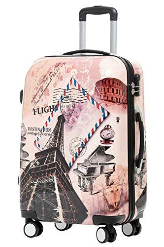 BEIBYE Reisekoffer Hartschalen Hardcase Trolley Zahlenschloss Polycarbonat Set-XL-L-M- Beutycase (Eiffel Tower, L)