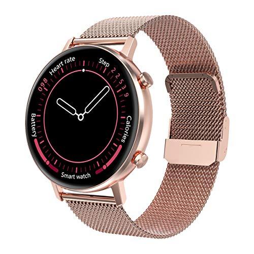 Padgene Mode Smartwatch Herren Damen, wasserdichte Smartwatch Sportuhr Fitness Tracker Armband Uhr mit SMS Anrufbenachrichtigung Herzfrequenz Schlafmonitor Kompatibel für IOS Android (Roségold)