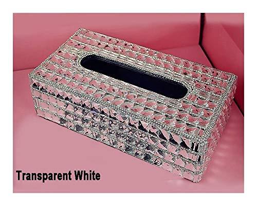 Dhmm123 Car Styling Kristall Rhinstone Dachter Auto-Gewebe-Kasten-Abdeckungs-Halter Armaturenbrett Block-Papiertuch-Aufbewahrungsboxen for Frauen Mädchen (Color Name : White)