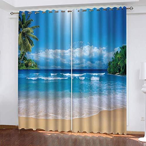 WLHRJ Cortina Opaca en Cocina el Salon dormitorios habitación Infantil 3D Impresión Digital Ojales Cortinas termica - 264x160 cm - Paisaje de mar Playa