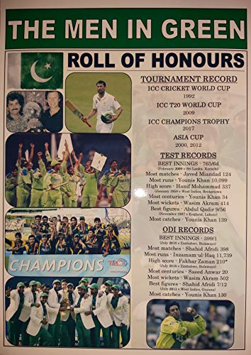 Sports Prints UK Pakistan Cricket-Rolle, Imran Javed Wasim Younis, Souvenir-Aufdruck