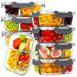 Bayco 8 Pack Glass Meal Prep Containers 3 Compartment, Glass Food Storage Containers with Lids, Airtight Glass Lunch Bento Boxes, BPA-Free & Leak Proof (8 lids & 8 Containers) - Grey