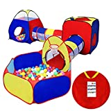 KMiKE 5 Pcs Kid Play Tent with Tunnel and Ball Pit Playhouse for Girls Boys Tent Castle for Indoor and Outdoor, Portable Folding Play House with Carry Case(Not Include Ball)