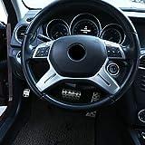 DIYUCAR Matte Silver ABS Chrom für Benz C-Klasse W204 C180 C200 2011-2013 Auto Lenkraddekoration, Zubehör E ML GL-Klasse W212 X166 W166