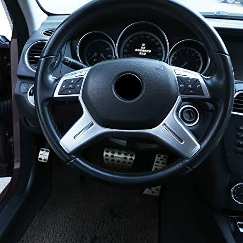 DIYUCAR ABS Chrom Matt Silber für Benz C Klasse W204 C180 C200 2011-2013 Auto Lenkrad Dekoration Zierleiste Zubehör E ML GL-Klasse W212 X166 W166