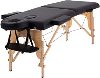 4beauty Foldable Portable 3-Section High Density Wooden Foam Massage Bed with Study Table with Carry Bag