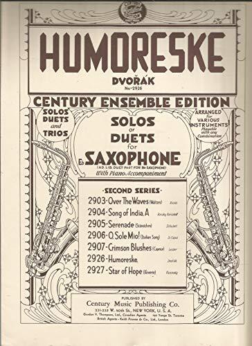 Anton Dvorak, Op.100, No.7 Humoreske Solo or Duet for Eb Alto Saxophone and Piano, Arr by Calvin Grooms