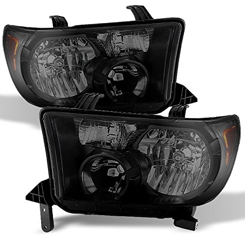 For Black Smoke 2007-2013 Tundra 08-17 Sequoia Headlights Front Lamps Direct Replacement Left + Right