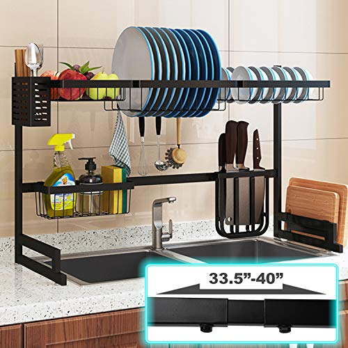 Over Sink Dish Drying Rack Length Adjustable 33 to 40 2 Tier Stainless Steel Kitchen Supplies Storage Shelf Multifunctional Tableware Rack Kitchen Space Save Must Have Black