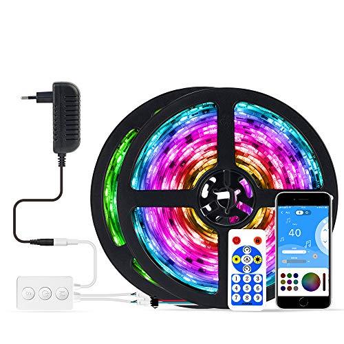 BTF-LIGHTING Tira de luz LED con doble salida,control de aplicación de música Bluetooth, 5050RGB, IC direccionable, flexible, multicolor, 32 pies,con adaptador de 12V,IP65 a prueba de agua PCB blanco