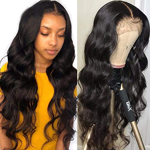 MSCOCO Hair 13x4 Body Wave Transparent Lace Front Wigs Human Hair for Black Women 100% Unprocessed Brazilian Human Hair Wigs 150% Density Pre Plucked With Baby Hair (24 inch, 13x4 Natural Color)