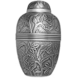 Silver Funeral Urn by Liliane Memorials - Cremation Urn for Human Ashes - Hand Made in Brass - Suitable for Cemetery Burial or Niche - Large Size fits remains of Adults up to 200 lbs - Argent Model