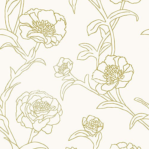 Tempaper PE10042 Peonies Removable Peel and Stick Wallpaper, Gold Leaf