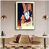 zkpzk Juan Gris Old Famous Master Artista Español El Molinillo De Café Pintura De La Lona Impresión del Cartel para La Decoración De La Pared De La Habitación Arte De La Pared-50X70Cmx1 Sin Marco