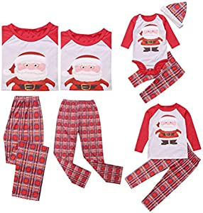 douleway Coincidencia de Navidad de la familia pijama, ropa para dormir Mamá y yo Pj bebé Romper Conjunto para Bebé niña Men 6 - 9 Months