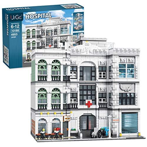 Myste Street View 3 capas Hospital Arquitectura bloques de construcción, 4953 piezas DIY MOC modular casas, construcción de bloques, Compatible con Lego Casa