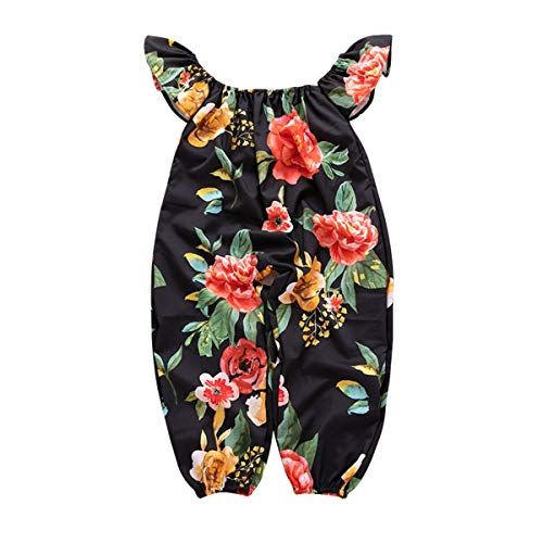 Baby Mädchen Kleinkind Floral Schulterfrei Overall Bodysuit Outfits Kleidung (Color : Black, Size : 2T-3T)
