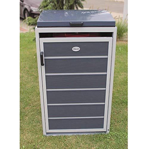 Prewood WPC Mülltonnenbox, Mülltonnenverkleidung für 1x 120l Mülltonne grau // 70x68x113 cm (LxBxH) // Gerätebox, Gartenbox & Mülltonneneinhausung - 2
