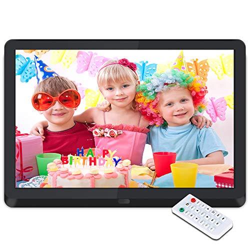 Digitaler Bilderrahmen 10 Zoll Elektronischer Fotorahmen 1920 * 1080 IPS Display Mit automatischer Drehung,Fernbedienung,Steckplätzen für MP3- /HD-Videoplayer/Kalender/Wecker,USB- und SD-Karten