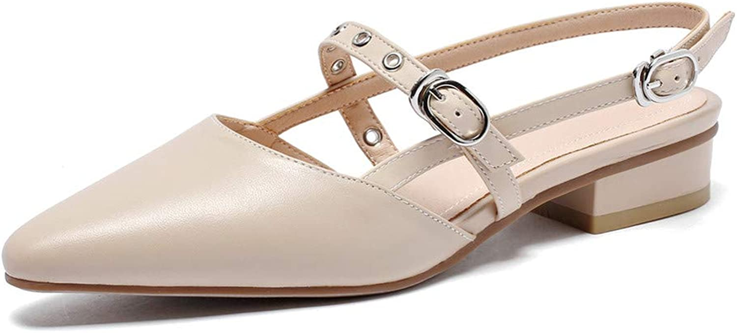 Nine Seven Genuine Leather Women's Pointed Toe Flat Chunky Heel Graceful Handmade Concise Buckle Women Sling Back Pumps