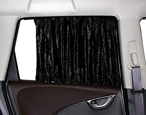 車用カーテン スタイリッシュラグジュアリー カーテンワイド チンチラブラック Мサイズ 幅75cm対応