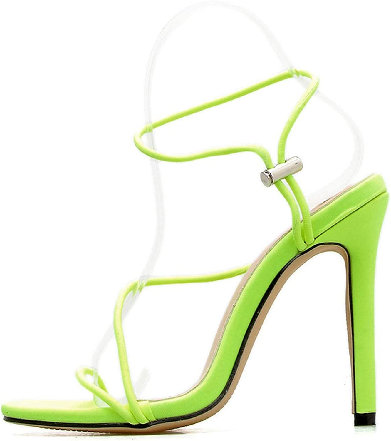 2019 Sexy Women Sandals Fashion Open Toe High Heels 3 colors Ankle Strap Hollow Party shoes Classic Buckle, Yellow,7