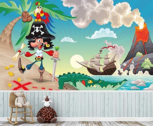 Bilderdepot24 Fototapete fürs Kinderzimmer selbstklebend - Pirat - 200x150 cm - Schatzinsel und Piratenabendteuer