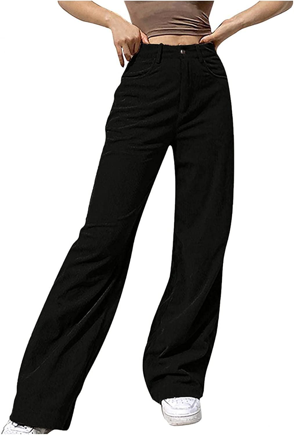 UQGHQO Jeans for Women, Womens Casual Solid Color Wide Leg Mid Waisted Pants Baggy Trousers Fashion Straight Denim Jeans