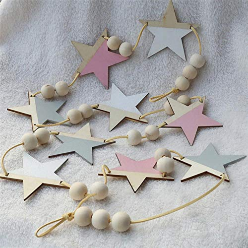 TTBDAN Nordic Wooden Star Beads Garland Banners Girls Baby Room Nursery Wall Decor Kids Room Hanging Curtains Pennant Po Props,White Pink Grey