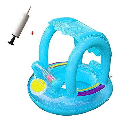 Flotador bebes-Flotador para bebé con asiento,techo del sol,barca bebé de piscina para 1-3 Años de Edad(Blue baby float+inflator)