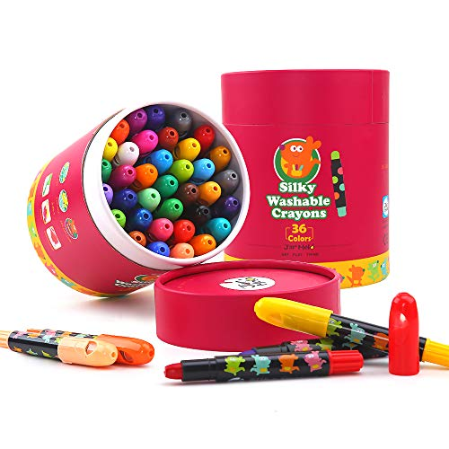 Jar Melo Washable Jumbo Crayons for Toddler -36 Colors ;Non Toxic; Twistable Gel Window Crayons;Silky Bath Crayon for kids ; Art Tools;