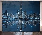 ABAKUHAUS Chicago Skyline Rustikaler Gardine, Schlafen Stadt, Schlafzimmer Kräuselband Vorhang mit Schlaufen und Haken, 280 x 225 cm, Nachtblau Grau