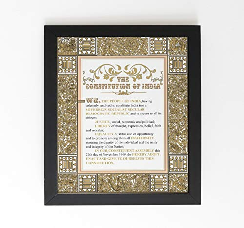 IMPOSTER The Constitution of India Preamble After 42nd Amendment for Home, Office, School, Library etc (English, 12x16 with Frame)