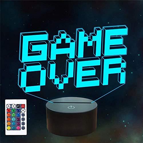 3D Illusion Hologramm Nachtlampe Pixel Game Over Geschenke, mit 16 Farbwechsel und Fernbedienung, Geschenke für Kinder ab 3 4 5 6+ Jahre